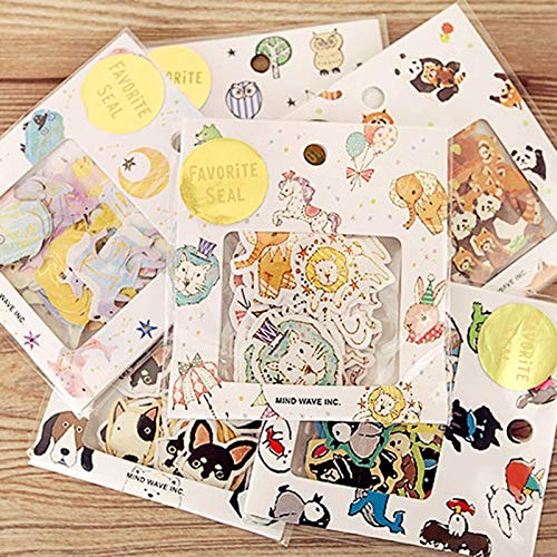 BLOUR Leuke Kawaii beer uil PVC sticker cartoon hond kat kleverig papier voor fotoalbum dagboek decoratie leerlingen cadeau 70 stuks / losse
