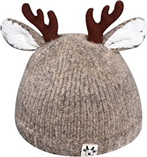 Queena Cute Reindeer Antlers Baby Warm Hat Crochet Knitted Beanie Cap Photo Prop for Toddler Girls Boys