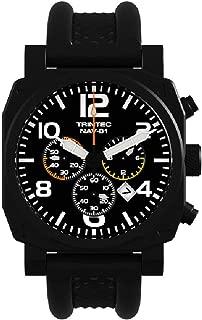 Trintec NAV-01 Chronograph/Black Professional Pilot Watches +Extra Orange Band
