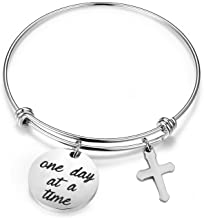 MAOFAED Sobriety Bracelet One Day at a Time Addiction Recovery Inspirational Jewelry Motivational Gifts