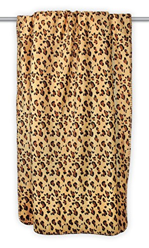 """DII Super Soft Plush Flannel Fleece Sherpa Blanket Throw For Chair, Couch, Picnic, Camping, Beach, & Everyday Use , 50 x 60"""" - Leopard"""