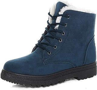 Women Boots Ankle Platform Cotton Warm Fur Snow Boots Winter Lace Up Flat Booties Cute Plus Size Comfortable Shoes
