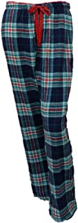 Womens Blue Plaid Flannel Sleep Pants Pjs Pajama Bottoms