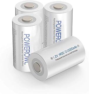 comprar comparacion D Pilas Recargables POWEROWL Alta Capacidad 10000mAh 1.2V Ni-MH Precarga D Bateria Recargables Baja Autodescarga (4 Unidad...