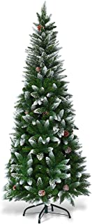 Goplus Artificial Pencil Christmas Tree, Snow Flocked with Pine Cones and Metal Stand, for Xmas Indoor and Outdoor Décor (5ft)