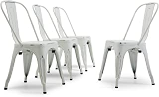 Belleze Modern Industrial Style Metal Dining Café Bistro Kitchen High Back Stackable Set of 4 Chairs Antique White