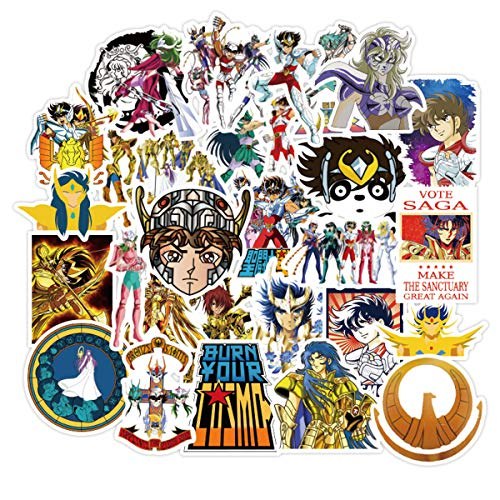 Saint Seiya Sticker Pack of 50 Stickers - Waterproof Durable Stickers Classic Japanese Anime Stickers for Kids Teens Waterproof Stickers
