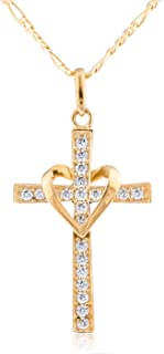 10k Gold Heart & Cross Pendant with an 18 Inch Necklace