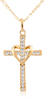 gold cross heart necklace