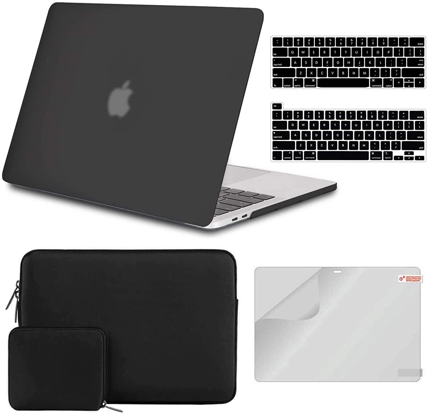 iCasso Case Compatible with MacBook Pro 13 inch Case A2338 M1/A2289/A2251/A2159/A1989/A1706/A1708,Hard Shell Case,Sleeve,Screen Protector,Keyboard Cover for MacBook Pro 13'' with Small Bag - Black