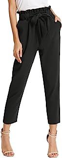 Pantalones Casuales de Cintura Alta Mujer Largo Recortado 9/10 con Lazo Decorado