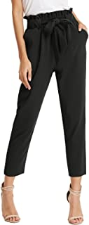 Women Bow Tie High Waist Pencil Cropped Pant Slim Fit Casual Trouser