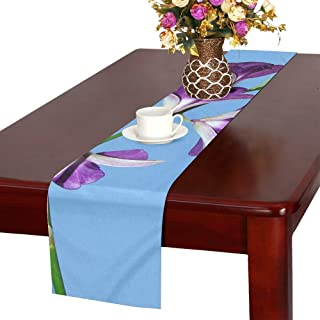 WBSNDB Orchid Flower Dendrobium Purple Flora Orchidaceae Table Runner, Kitchen Dining Table Runner 16 X 72 Inch for Dinner Parties, Events, Decor