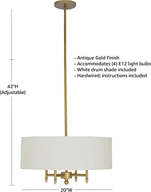 Amazon Brand – Stone & Beam Contemporary Pendant Chandelier with White Shade - 20 x 20 x 42 Inches (Adjustable Height), A
