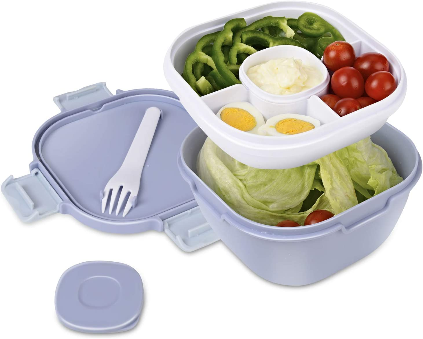 Upgraded Salad Bowl with Lid Leak-proof 57.5oz Stackable Salad L