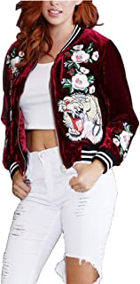 Halfword Womens Velour Tiger Embroidery Bomber Jackets Short Coat Outwear