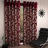 Home Sizzler 2 Piece Eyelet Polyester Scroll Frill Window Curtain Set - 5ft