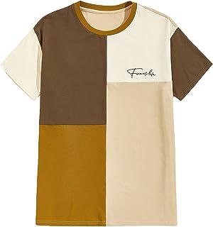 Floerns Men's Letter Graphic Striped Round Neck Short Sleeve Top Tee Shirt