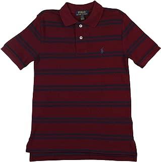 Big Kids Boys Mesh Cotton Pique Polo Shirt Wine Red Striped