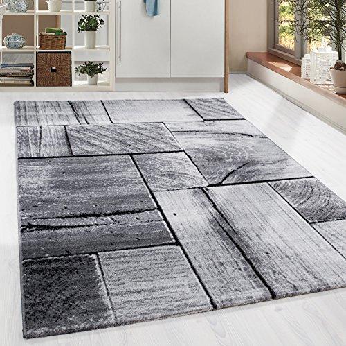 Design Kurzflor Teppich Holzbalken Look Wohnzimmer Grau Schwarz meliert, Grösse:160x230 cm
