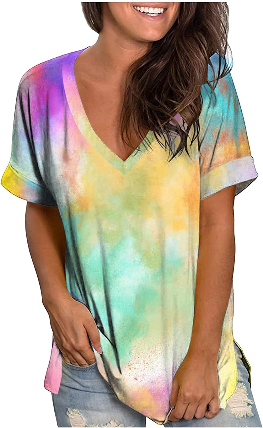 Womens Tshirts,Summer Tops for Women Casual Tie Dye T-Shirts V Neck Tees Short Sleeve Blouses Loose Pullover Shirts