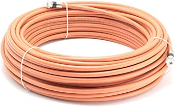 THE CIMPLE CO - 100 Feet Direct Burial Coaxial Cable- Proudly Made in The USA RG6 Coax Cable Rubber Boot - Outdoor Connectors - (Orange) - Designed for Waterproof and to Be Burried