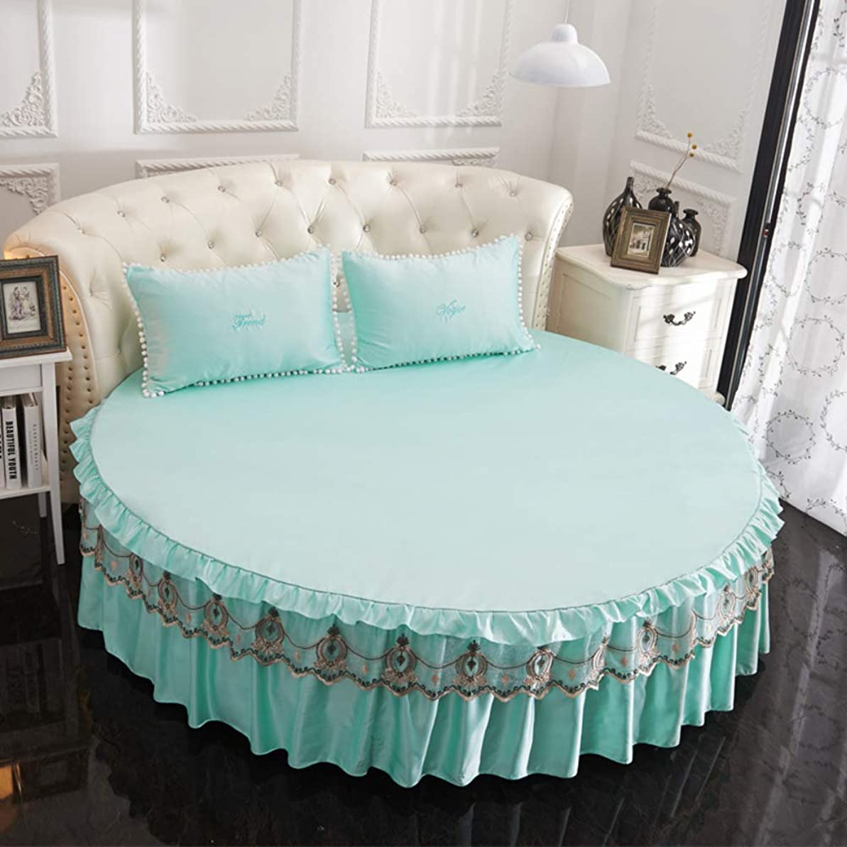 構築するフレアのれん丸型 1 つの作品 ベッドシーツ, レース ベッドスカート クールな 通気性と耐久性 ベッド カバー しわ フェード シミ 抵抗力があります。 -青 79'' Diameter