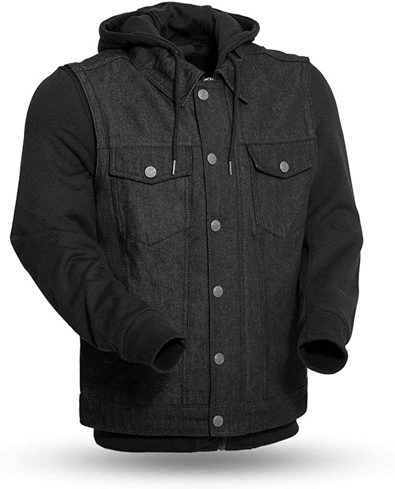 First Mfg Co Rook Mens Denim Vest with a Removable Hooded Sweatshirt (Black, X-Large)