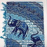 Goodforgoods Decoración de Mandala y Elefantes para la Playa, Piscina, tapicería Cubre Sofa, Mesa sillón, decoración Pared. 100% algodón 210x240 cm. (Azul 2, 210x240 cm)