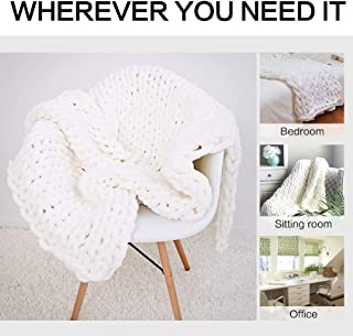 EASTSURE Chunky Knit Luxury Throw Blanket Soft Polyester Chenille Bulky Blankets for Cuddling up in Bed, on The Couch or Sofa - Large Cable Blanket (White) 24