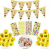 YuChiSX 50 Stück Smiley Luft-Ballons, Emoji Geburtstagsbanner, Aufkleber, lustige freche Smily Emoji Gesichter, Deko Party Fasching Kinder-Geburtstag, Neuheit Hochzeit Veranstaltungen Dekoration