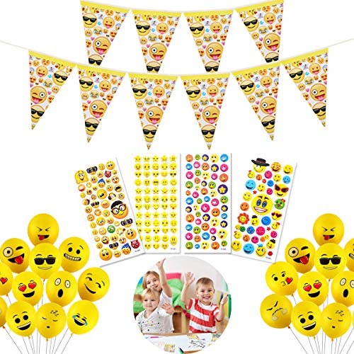YuChiSX 50 stuks Smiley Air Balloons, Emoji Birthday Banners, Stickers, Funny Cheeky Smily Emoji Faces, Decorative Party Mardi Gras Children's Birthday, Novelty Wedding Events Decoration