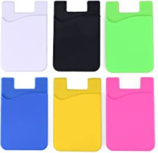 NALAKUVARA 6-Pack Cell Phone Wallet, Silicone 3M Adhesive Stick-on Wallet for Credit Card, Ultra-Slim Id Holder Wallet Pouch Sleeve Pocket for Smartphones (iPhone/Android/Samsung Galaxy)