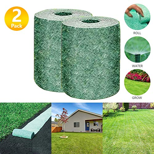 Grass Seed Mat Roll 10FT Biodegradable Grass Seed Mat, Year Round Green Just Roll Water & Grow -Not Fake or Artificial Grass