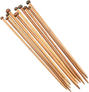 Katech 36 pcs Knitting Needles Single Pointed Bamboo Knitting Needle Set (18 Different Sizes from 2.0 mm to 10.0 mm) Ergon...