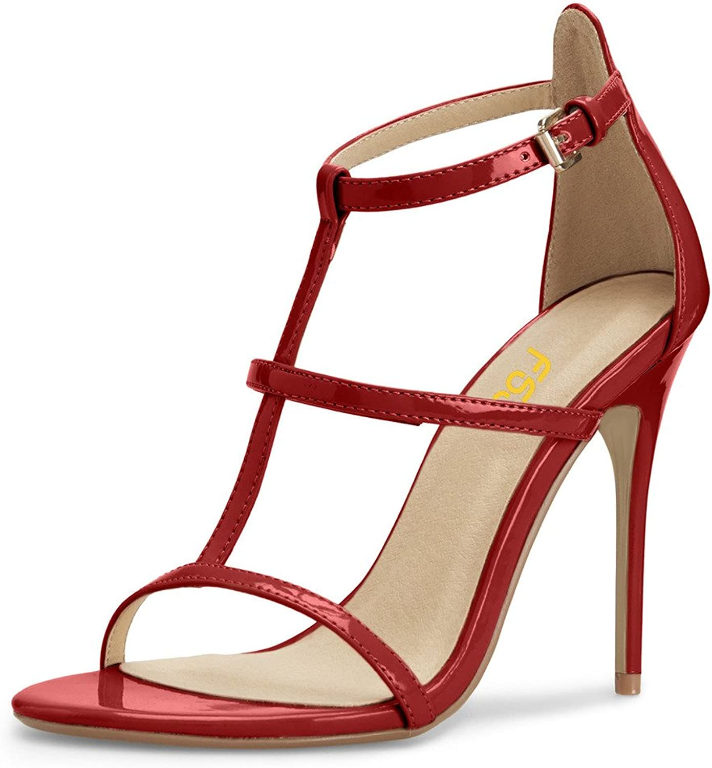 FSJ Fashion Sandals for Women Ankle Straps Open Toe Stiletto Heels Hollow Out shoes Size 4-15 US