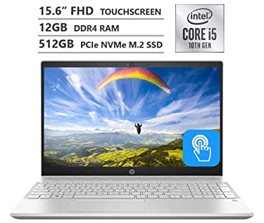 """HP Pavilion Laptop, 15.6"""" Full HD IPS Touchscreen, 10th Gen Intel Core i5-1035G1 Processor up to 3.60GHz, 12GB RAM, 512GB PCIe NVMe SSD, Backlit Keyboard, HDMI, Wireless-AC, Bluetooth, Windows 10 Home"""