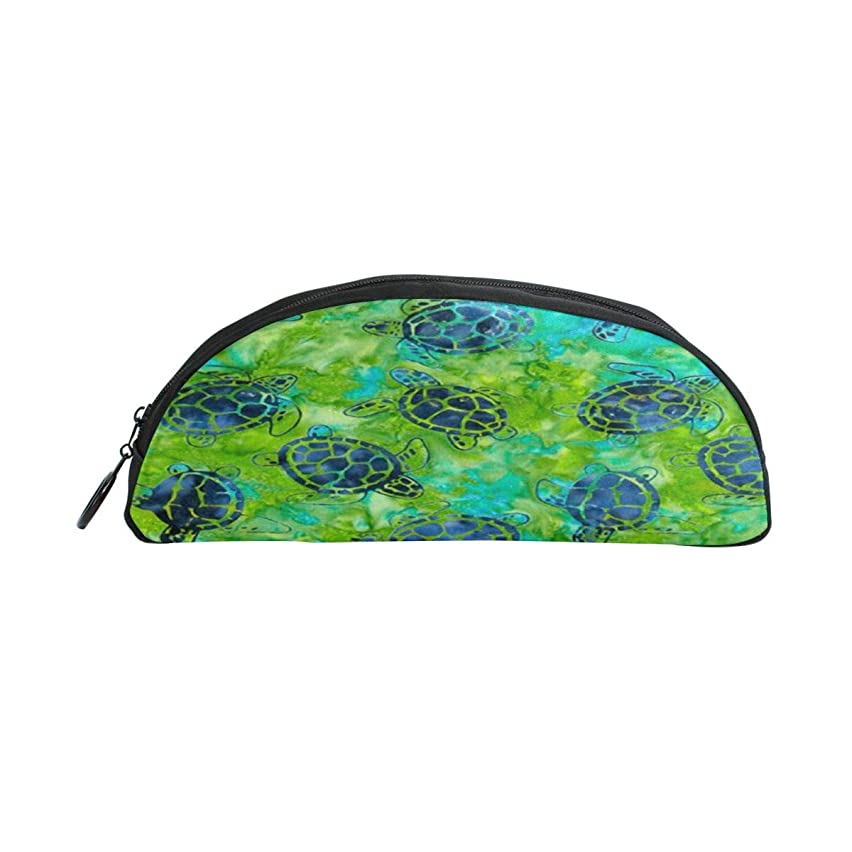 JAZZER Funny Watercolor Blue Sea Turtle Hawaiian Chool Kids Pen Case Semicircular Shell Pencil Holders Large Capacity Pouch Makeup Cosmetic Boxes Office Travel Bag