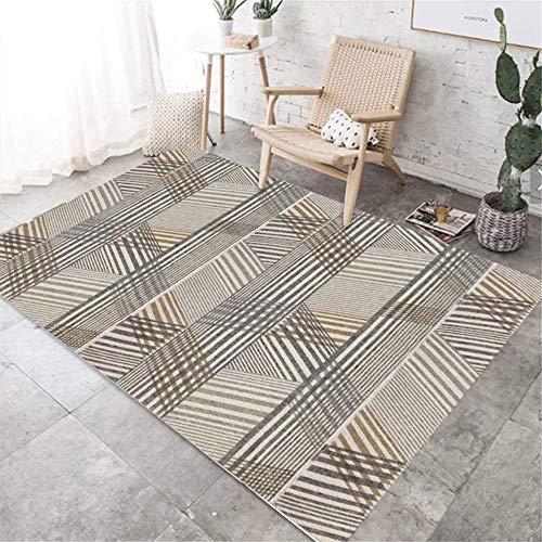 alfombras habitacion Infantil Alfombra antiácaros de la Mesa de Centro de la Sala de Estar del diseño de la línea de la Pintada Gris marrón Alfombra habitacion Juvenil 100*200cm