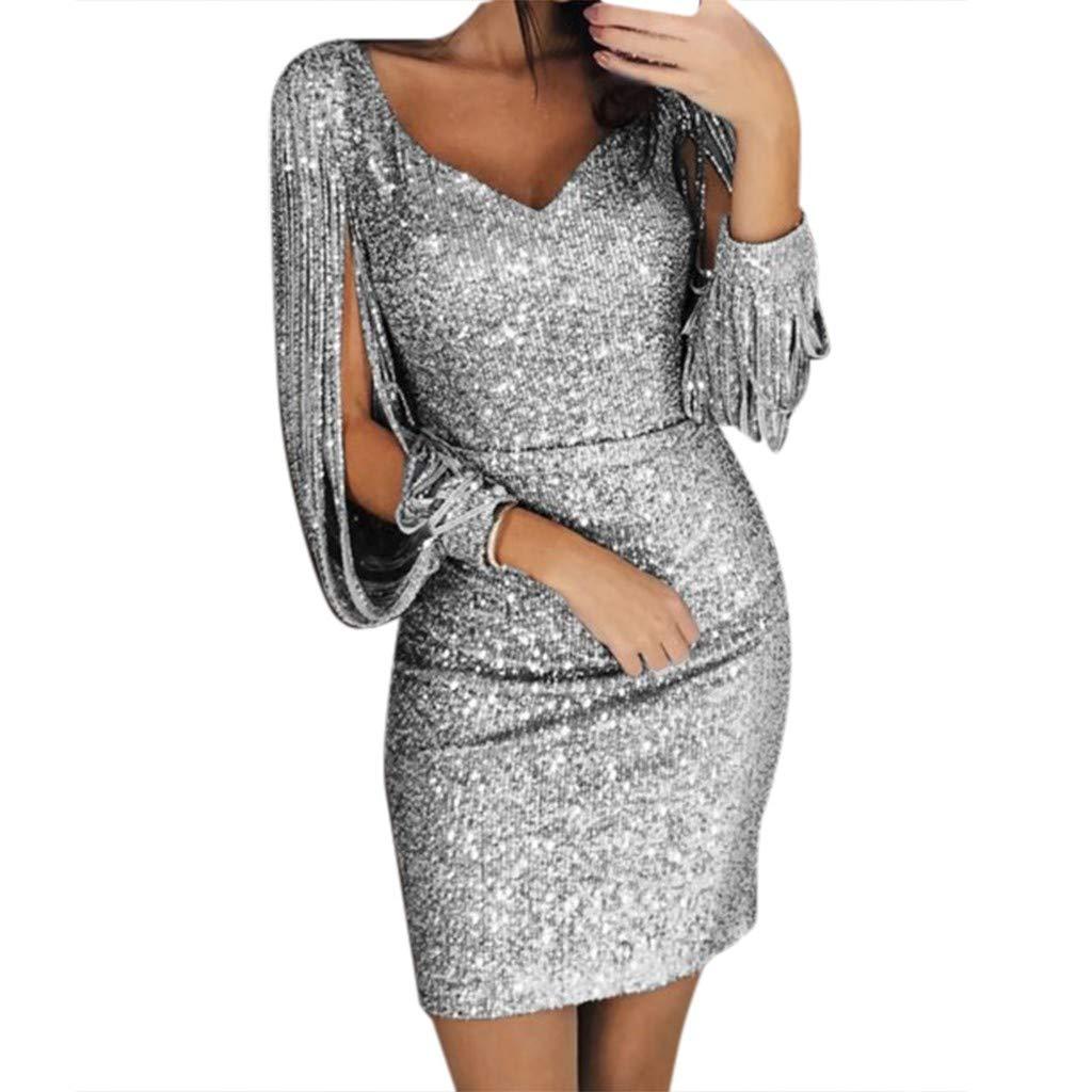 Briskorry Damen Abendkleider Langarm V-Ausschnitt Sexy