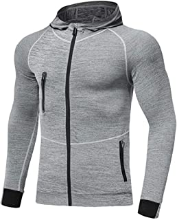 Mens Hoodies Zip Up Running Jacket Hooded Breathable Tracksuit Top Lightweight Sweatshirt Comfy Gym Clothes for Jogging Wo...