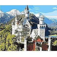 大人と子供のためのDIYデジタル絵画ナンバーキットによるDIYデジタル絵画絵画アルパインキャッスルツリー誕生日の宿泊施設クリスマスギフト40x50cmフレームレス
