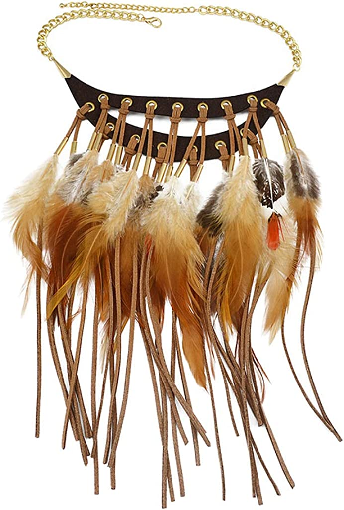 AMLESO Fashion Tribal Regular store Style Feathers Leather Charm Tassel Neckla High material