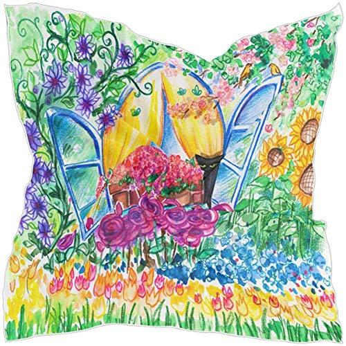 N/A Bufanda cuadrada rectangular de seda de satén para mujer, con ventana abierta, girasol, tulipán, cabeza, chal