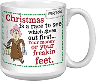 Tree-Free Greetings Extra Large 20-Ounce Ceramic Coffee Mug, Aunty Acid Christmas Race