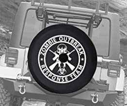 JL Spare Tire Cover Zombie Outbreak Response Team Skull Guns with Backup Camera Hole 32 Inch