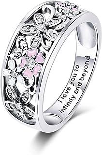 خاتم من الفضة الإسترلينية من بامور خواتم زهور للنساء خواتم للخطوبة والزفاف للنساء مقاس 6 7 8