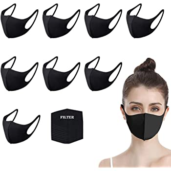 Cloth Covering for Face for Adults for Cycling Camping Anti-Haze Dust Black Reusable and Breathable 8 Pcs Face Bandanas