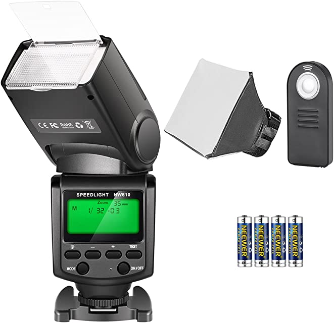 Neewer TT560 Speedlite Flash Kit para Canon Nikon Sony Pentax Cámara DSLR con Zapata Caliente Estándar Incluye: (1) Flash TT560 (1) Flash Difusor (1) Control Remoto (4) Baterías