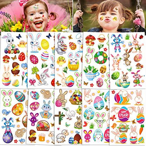 Qpout Tatouages temporaires de Pâques pour les enfants (130 modèles), lapin panier oeufs de poussin dessin animé conception tatouages autocollant, pour garçons filles cadeaux de décoration de Pâques